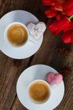 Café del día de tarjetas del día de San Valentín fotografía de archivo