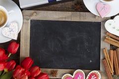 Café del día de tarjetas del día de San Valentín imagen de archivo