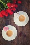 Café del día de tarjetas del día de San Valentín fotos de archivo libres de regalías