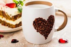 Café del día de tarjetas del día de San Valentín Fotografía de archivo libre de regalías