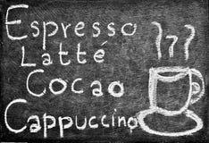 Café del dibujo de la mano y diseño del menú de la bebida Foto de archivo