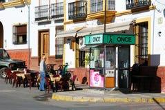 Café del pavimento en el centro de ciudad, Colmenar Fotos de archivo libres de regalías