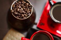 Café del turco con las habas Imagen de archivo libre de regalías