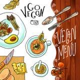 Café del vegetariano del menú Fotos de archivo