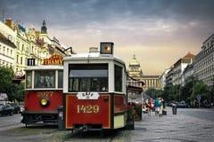 Café del vintage en la tranvía vieja, Praga Imágenes de archivo libres de regalías