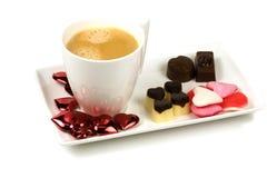 Café delicioso de la tarjeta del día de San Valentín Fotografía de archivo