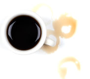 Café derramado Imágenes de archivo libres de regalías