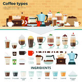 Café différent sur la table Photographie stock