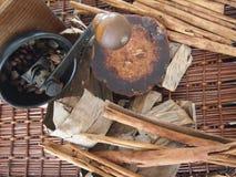Café do açúcar da palma das varas de canela Foto de Stock Royalty Free