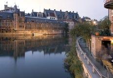 Café do beira-rio de Ghent imagens de stock