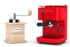 Café do café que faz a máquina com o moinho de café de madeira Imagem de Stock Royalty Free