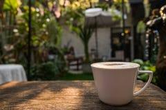 Café do cappuccino no copo branco na tabela de madeira no jardim com mo Fotografia de Stock