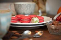 Café do deserto do macaron de Rapsberry e flores 2 Imagem de Stock