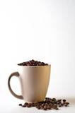 Café do feijão inteiro na caneca isolada no branco Fotos de Stock
