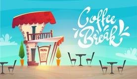 Café do restaurante da rua do conceito da loja do caffee estilo medieval dos desenhos animados entrega feliz alegre brilhante do  ilustração do vetor
