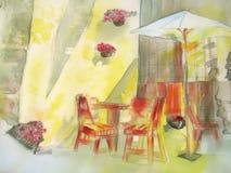 Café do sreet da cidade na pintura amarela. Seda. Imagem de Stock