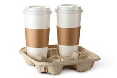 Café dois para viagem no suporte Foto de Stock
