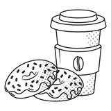 Caf? e an?is de espuma preto e branco ilustração stock
