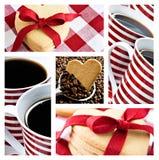 Café e bolinhos dados forma coração Foto de Stock Royalty Free