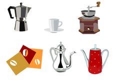 Café e chaleiras e potenciômetros de java Fotos de Stock Royalty Free