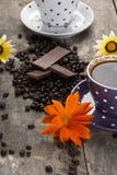 Café e chocolate, fim acima Imagens de Stock Royalty Free