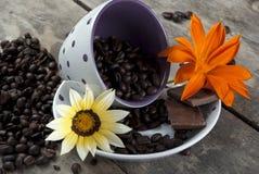 Café e chocolate, fim acima Imagem de Stock Royalty Free