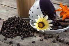 Café e chocolate, fim acima Fotos de Stock