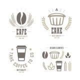 Café e emblemas e ícones do bolo Fotos de Stock Royalty Free