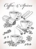 Café e especiaria ilustração stock