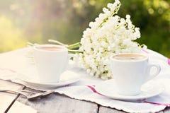 café e lírio do vale fotos de stock