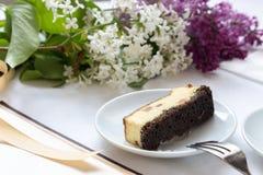 Café e pedaço de bolo Imagem de Stock Royalty Free