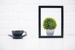 Café e planta dentro do quadro Fotografia de Stock