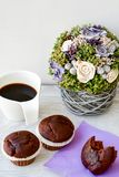 Café e queques Fotos de Stock Royalty Free