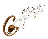 Café e rotulação da música ilustração royalty free