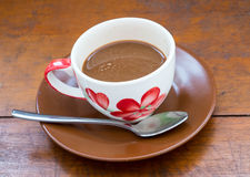 Café en el vector de madera Fotografía de archivo libre de regalías