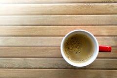 Café en el vector de madera Imagen de archivo libre de regalías