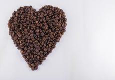 Café en forma de corazón Bean With Copy Space Imagen de archivo libre de regalías