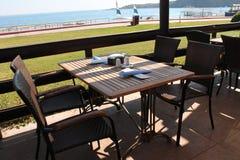 Café en la playa Imágenes de archivo libres de regalías