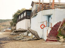 café en la playa, el pueblo de Scaletta Foto de archivo libre de regalías