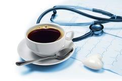 Café et électrocardiogramme Photographie stock