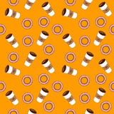 Café et bagels Illustration plate Photos stock
