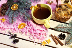 Café et biscuits Décoration de Noël Images stock