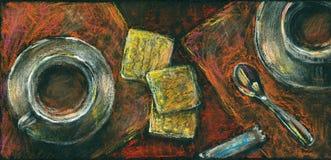 Café et biscuits. Dessin de craies en pastel. Images libres de droits