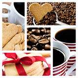 Café et biscuits en forme de coeur Image stock