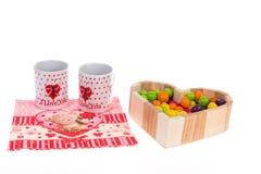 Café et bonbons pour le jour du ` s de Valentine de petit déjeuner Image stock
