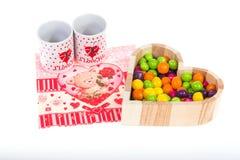 Café et bonbons pour le jour du ` s de Valentine de petit déjeuner Photographie stock libre de droits