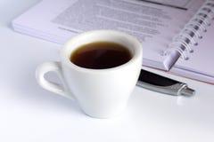Café et cahier Images libres de droits