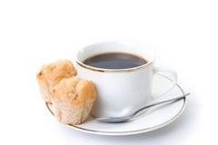 Café et casse-croûte de pains image stock