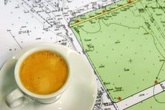 Café et cause geounderlying Photographie stock