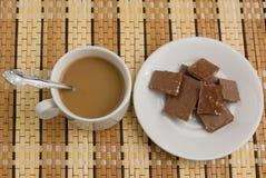 Café et chocolat de matin images stock